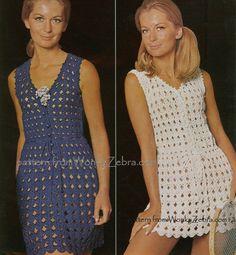 Vintage Vestido Crochê Padrão. / Vintage Crochet Pattern Dress.