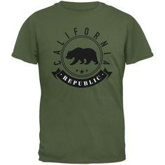 California Republic Banner Military Green Adult T-Shirt