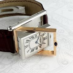 Literally 'flip the script' on your #wristwatch with this @cartier #Basculante in Platinum and 18k Rose Gold, what a combo!  The movement is housed in a 3 part case, allowing it to be flipped over to reveal and display the exhibition caseback. Limited edition to 100 pieces, an excellent addition to any collection.
