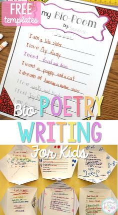 Poetry Writing for Kids: Bio Poems that Kids Love
