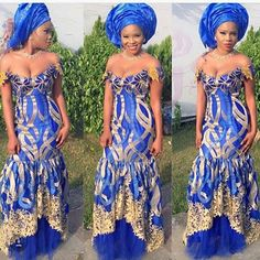 Asymmertric mermaid/trumpet cut with tulle underneath. I really like that. lace chiffon aso ebi - Google Search