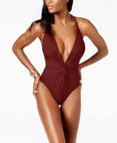 e090d55610 Kenneth Cole Plunge Tummy-Control Cheeky One-Piece Swimsuit Women - Swimwear  - Macy s