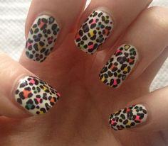 Multi Coloured Leopard Print Nails