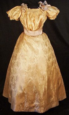 1880's BROCADE BUSTLE BALL GOWN MUSEUM DE-ACCESSIONED FOR DISPLAY OR STUDY