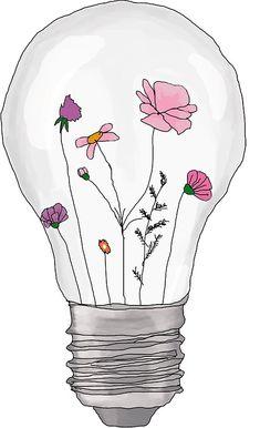 Pegatina 'Bulb full of flowers' de Luc-ey Bullet Journal Art, Bullet Journal Ideas Pages, Art Drawings Sketches, Easy Drawings, Drawings Of Flowers, Images Pop Art, Watercolor Flowers, Watercolor Paintings, Diy Sticker