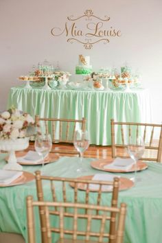 Graduation Party ideas. Mint and Gold