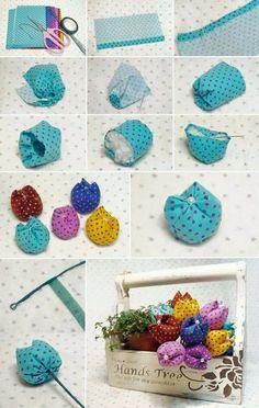 Inspiriert von Flores de Fuxico mit passo a passo! Felt Crafts, Easter Crafts, Fabric Crafts, Sewing Crafts, Diy And Crafts, Sewing Projects, Arts And Crafts, Decor Crafts, Diy Projects