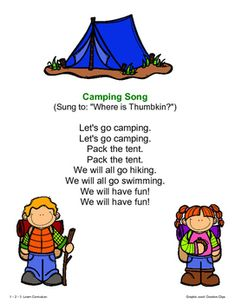 Camping Fun - Songs, Poems and Fingerplays by 1 - 2 - 3 Learn Curriculum Songs For Toddlers, Camping With Toddlers, Kids Songs, Camping Songs For Kids, Toddler Camping, Camp Songs, Fun Songs, Kids Camping Chairs, Campfire Songs