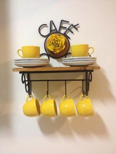 Coffee Station Mug Design Coffee Station Kitchen, Coffee Bar Home, Home Coffee Stations, Coffee Corner, Coffee Mug Display, Coffee Cup Holder, Home Decor Kitchen, Diy Home Decor, Yellow Home Decor