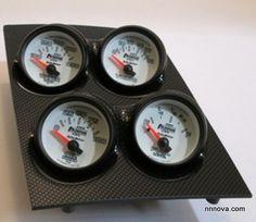 1968-1974 Nova Console Carbon Finish Quad Pod with Phantom II Electric Gauges