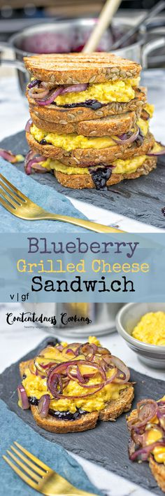 This #Blueberry Grilled #Cheese #Sandwich is made with only 4 ingredients and comes together in just 4 easy steps. A delicious, easy, #vegan meal. #glutenfree #snack #lunch #dinner #breakfast