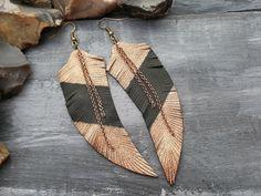 Bronze feather earrings. Leather earrings. Feather by VelmaJewelry