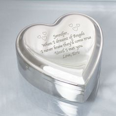Personalized Engraved Silver Heart Jewelry Box - Gifts Happen Here - 1