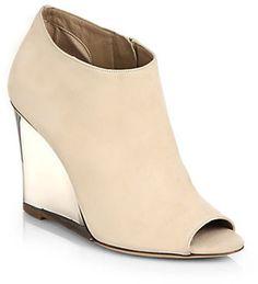 Burberry Keston Leather Peep-Toe Wedge Ankle Boots on shopstyle.com