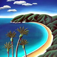 Nikau Bay by Diana Adams for Sale - New Zealand Art Prints Nz Art, Art For Art Sake, Landscape Artwork, Abstract Landscape, Renaissance, New Zealand Landscape, New Zealand Art, Collage, Naive Art