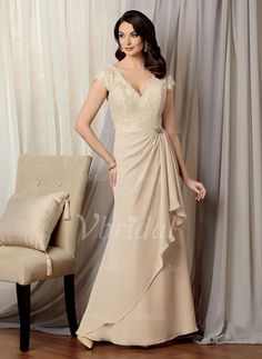 A-Line/Princess V-neck Floor-Length Ruffle Lace Crystal Brooch Chiffon Zipper Up Cap Straps Sleeveless No 2015 Champagne Spring Summer Fall General Mother of the Bride Dress