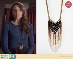 Spencer's long necklace on Pretty Little Liars.  Outfit Details: http://wornontv.net/36590/ #PLL
