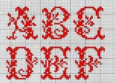 Alfabeto rosso con foglie A