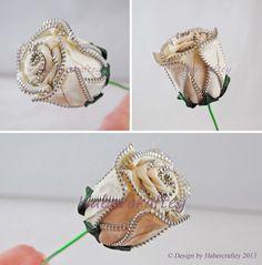 3 dimentional zipper rose. handmade & unique zip craft flowers from @Habercraftey Crafts Crafts