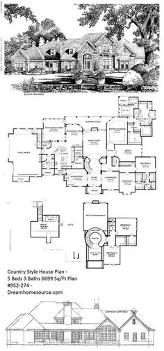Country Style House Plan - 5 Beds 3 Baths 6699 Sq/Ft Plan #952-274 - Dreamhomesource.com