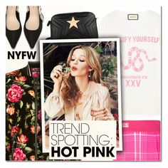 """""""Win It! NYFW Trend Spotting: Hot Pink V"""" by vampirella24 ❤ liked on Polyvore featuring Fendi, Dolce&Gabbana, Gucci, Jagger and STELLA McCARTNEY"""