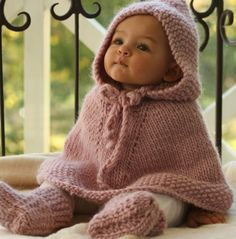 Knitted poncho & baby booties