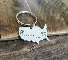 Custom long distance relationship keychain Small by CMKreations