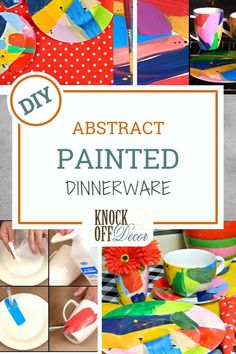 Mark Montano shares the perfect way to add a pop of color to your table – with abstract painted dishes! Not only do these dishes double as art, but they are incredibly simple and inexpensive to make. Diy Kitchen Decor, Diy Home Decor, Design Show, Diy Design, Diy Wood Projects, Decor Crafts, Dollar Stores, Christmas Crafts, Household
