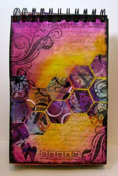 art journal page with Sizzix hexagon dies - use your mop-up pages as diecuts - Marjie Kemper