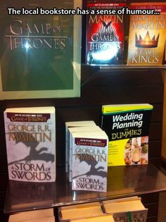 Game of Thrones display in the bookstore. I have literally been looking for this all day. Do you know how hard it is to find something you failed to pin?!