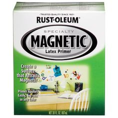 Rust-Oleum Quart Magnetic Primer.  Create a surface that Attracts Magnets.  Primer applies easily, top coat with any color.