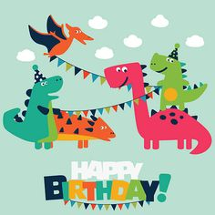 Happy birthday - lovely vector card with funny dinosaurs vector art illustration