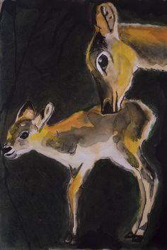 Blij om mijn nieuwste toevoeging aan mijn #etsy shop te kunnen delen: Hertjes, originele tekening A3 formaat, Natuur Bos, mixed media op papier, illustratie, dieren, ree, moeder en kind Baby Drawing, Baby Album, Baby Deer, Jaba, Mom And Baby, Illustration Art, Fine Art, Kind, Drawings