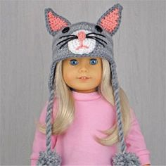 """CAT ~ Crocheted hat for American Girl Dolls made from pattern in the book """"Amigurumi Animal Hats for 18-Inch Dolls"""" by Linda Wright. amazon.com/..."""