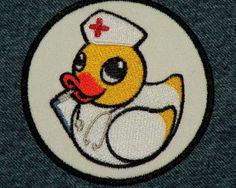Circular Nurse Duckie Iron on Patch