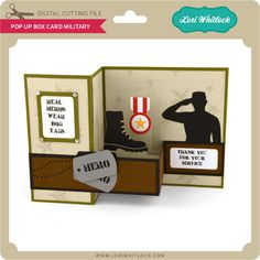 Pop up box card about military Scrapbook Box, How To Make Scrapbook, Scrapbooking, Birthday Card Drawing, Birthday Cards, Cricut Cards, Stampin Up Cards, Welcome Home Cards, Retirement Cards