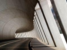 An amazing underpass/tunnel - urban road design, organic concrete, architecture meets structure. Concrete Architecture, Space Architecture, Amazing Architecture, Contemporary Architecture, Architecture Details, Luigi Snozzi, Built Environment, Brutalist, Interior And Exterior