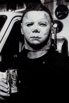 Michael (Dick Warlock) enjoying Coke between takes of Halloween 2, 1981.
