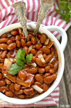 Bourbon Bacon Baked Beans - These are a true treat for any BBQ! The perfect side dish the entire family will love!