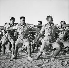 Maori Battalion haka in Egypt, 1941. Various actions are employed in the course of a performance, including facial contortions.