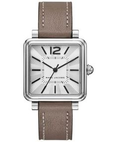 Marc Jacobs Women's Vic Cement Leather Strap Watch 30mm MJ1518 - Silver