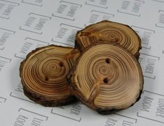 Larch Buttons, natural edge, Handmade from reclaimed wood, organic, natural finish.