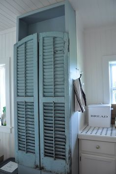 Old shutters as doors on bookcase, painted same shade to look like one piece.