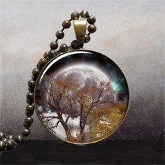 Autumn Equinox resin pendant, tree necklace charm tree jewelry full moon jewelry nature jewelry