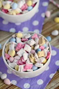 These Easter Muddy Buddies are a fun seasonal twist on a classic treat. Perfect for a snack or dessert, this will quickly become one of your favourite puppy chow recipes!