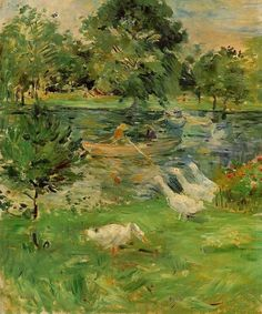 "artist-morisot: ""Girl in a Boat, with Geese by Berthe Morisot Size: 65.5x54.6 cm Medium: oil on canvas"""