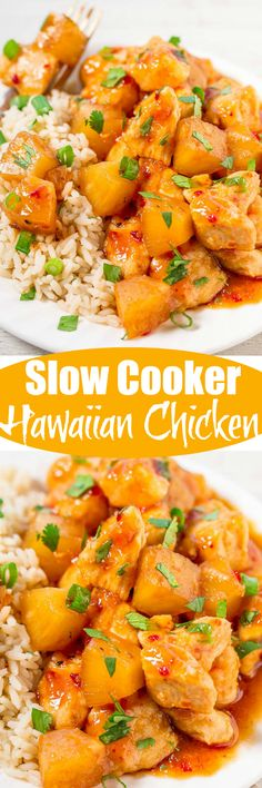 Slow Cooker Hawaiian Chicken with Pineapple - Tender chicken with lots of pineapple makes you feel like you're eating dinner on a Hawaiian vacation without leaving home!! Ridiculously easy, packed with flavor, and a hit with everyone!!