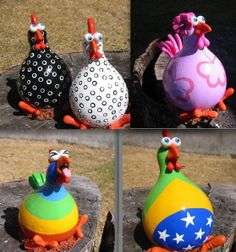Funky chickens made from gords.
