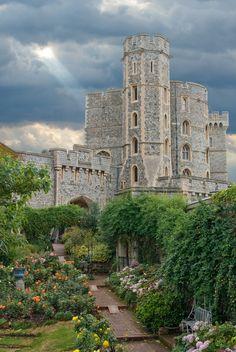 Castles: Rose Garden at Windsor Castle, England