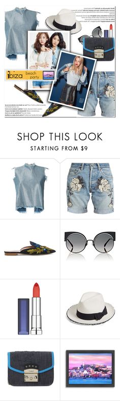 """How to Style an All Denim Monochrome Look with Embroidred Slides for Travel to Ibiza in the Spring and Summer"" by outfitsfortravel ❤ liked on Polyvore featuring Marques'Almeida, Bliss and Mischief, Alberta Ferretti, Fendi, Maybelline, Balmain, Helene Berman, Furla and Americanflat"